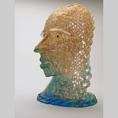 Portraits & People - Chain Male - If you can't find the man you want, maybe you should just knit one up. Kiln-Cast lead crystal knitted glass