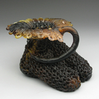 Flora & Fauna, kiln cast lead crystal, by Carol Milne, cast glass, knitted glass