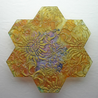 Carol Milne, Tessellations, recycled kiln cast lead crystal, Garden Tile #14