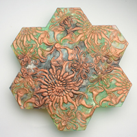 Carol Milne, Tessellations, recycled kiln cast lead crystal, Garden Tile #5