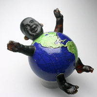 It's a Small World: Bing, raku, kiln cast lead crystal, Carol Milne, clay, cast glass, sculpture