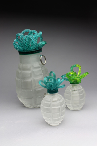 Like Mother, Carol Milne, cast glass, kiln cast glass, glass sculpture, art glass, hands, knitted glass, knitting