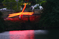 Fly By Night, Carol Milne, mixed media sculpture, illuminated sculpture, LED lights, red dragonfly